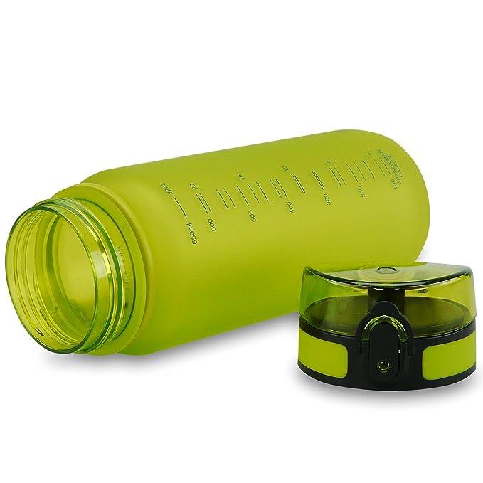 SMARDY Tritan Botella de Agua para Beber Verde - 650ml - de plástico sin BPA - Tapa de un Clic - fácil de Abrir - ecológica - Reutilizable: Amazon.es: ...
