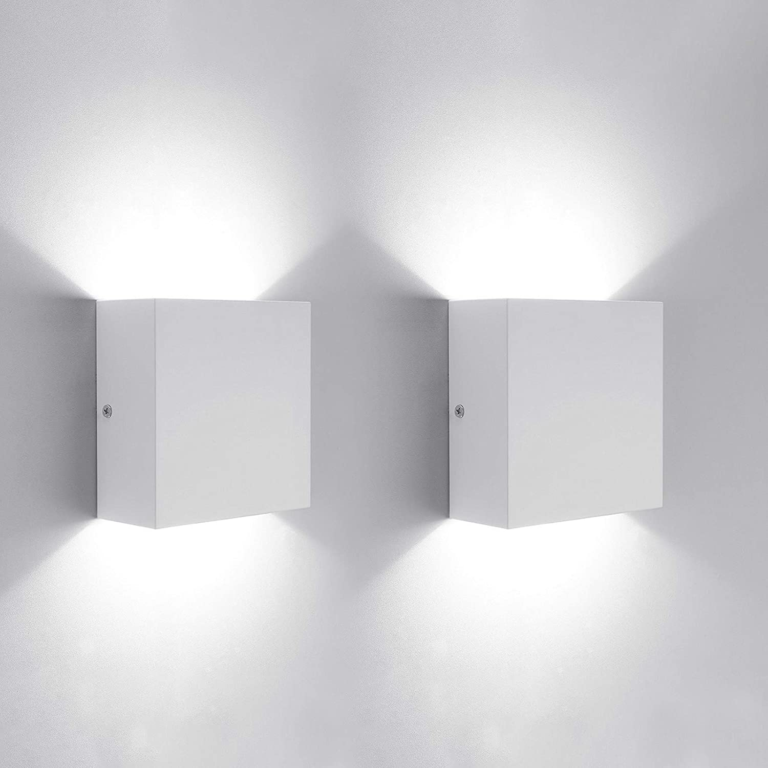2 Pack Modern Wall Sconce 10W, Lightess White Up Down Wall Mount Lights Metal Mini LED Wall Lamp for Living Room Bedroom Hallway Decor, Cool White, O1182TP
