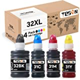 TESEN Compatible 32 XL 31 XL Ink Bottle Replacement for HP 32XL 31XL (4 Pack Black Cyan Magenta Yellow) for Use with HP Smart