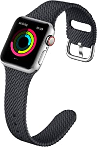 GEAK Compatible with Apple Watch Band 40mm Women Men Series 6, Comfortable Flexible Textured Weave Pattern Sport Wristband for Apple Watch SE 38mm Series 6 5 4 3 2 1, Charcoal