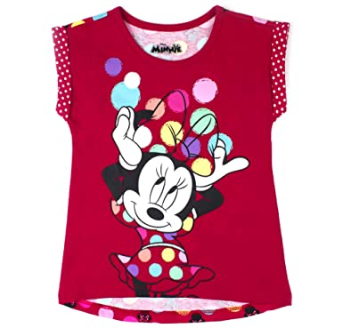 65b55056689 Minnie Mouse Toddler Girl Printed Back T-Shirt Red Polka Dot Glitter  Printed Roll Cuff