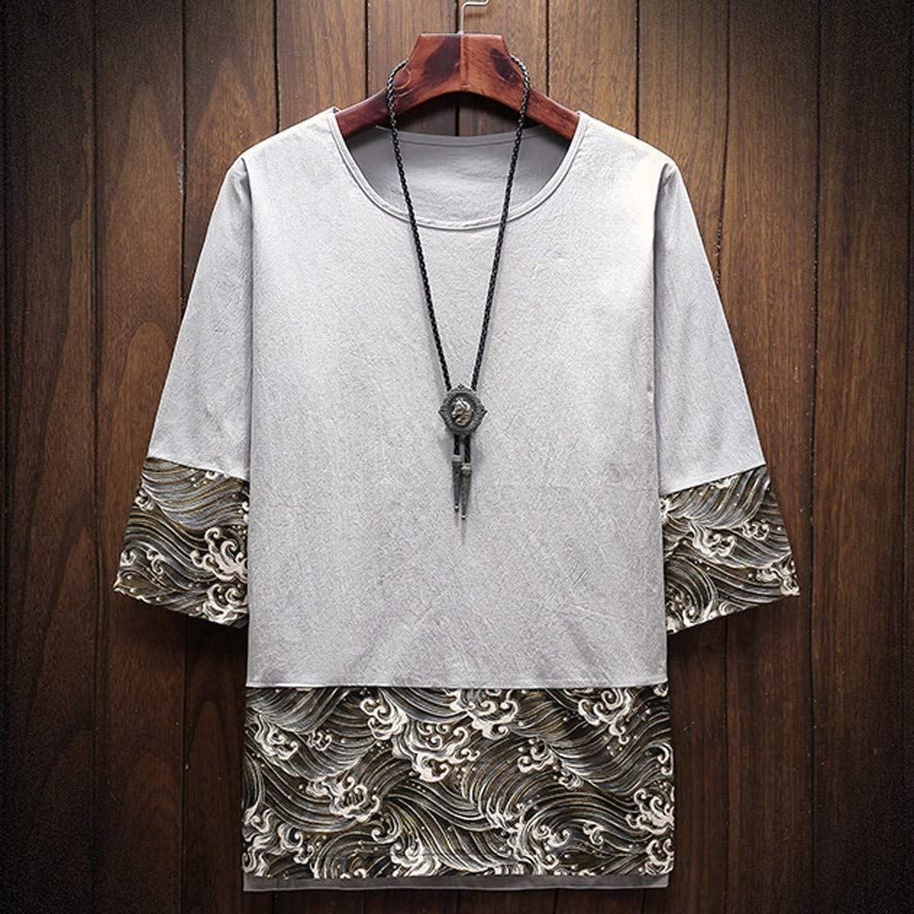 Waves Print T Shirt for Men Huazi2 Funny Streetwear Hip Hop Tops 5XL Summer