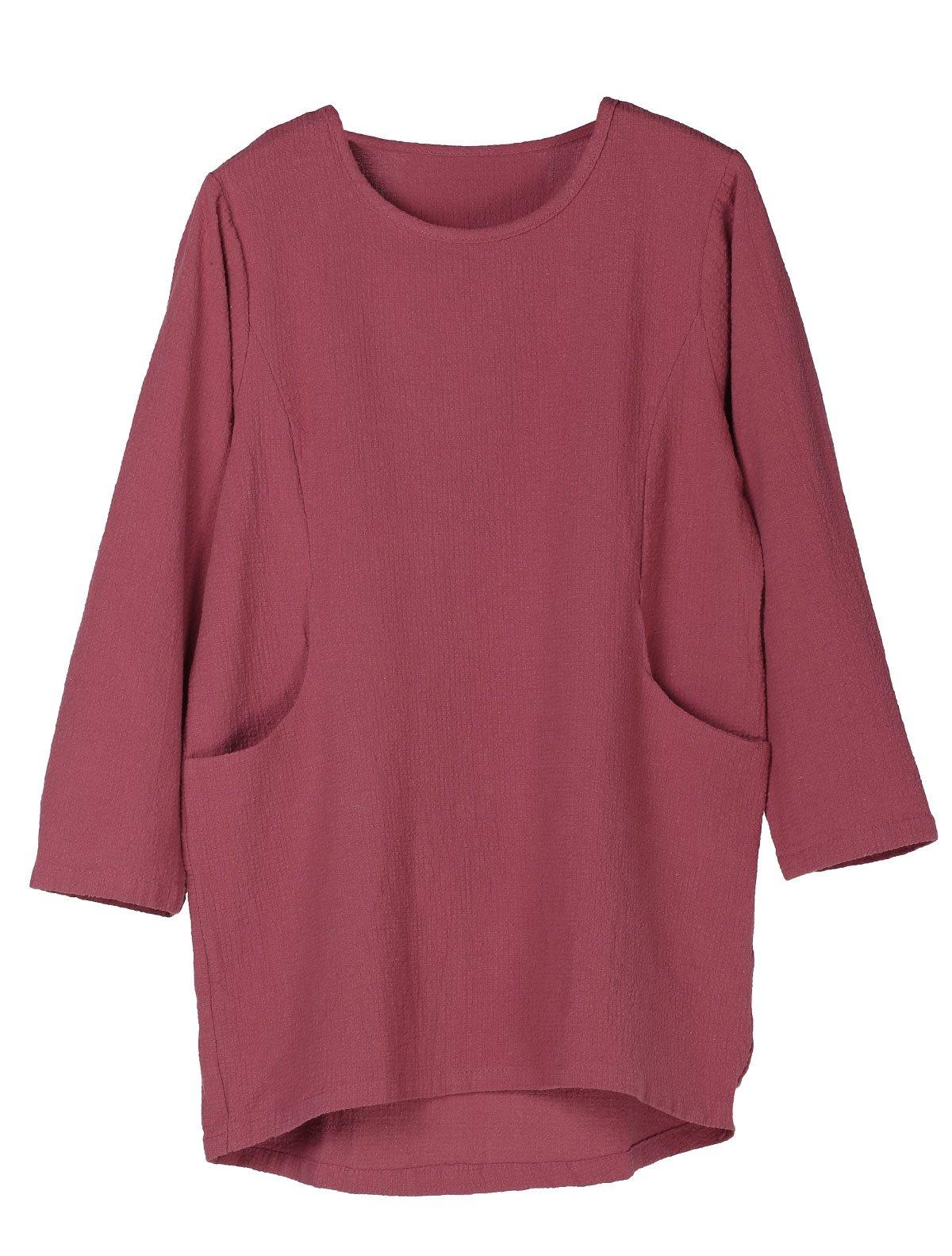 Minibee Women's Cotton Linen 4/5 Sleeve Tunic/Top Tees (XL, Maroon)