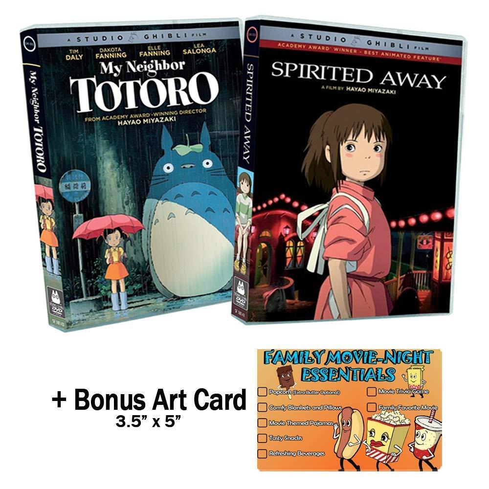 Amazon Com Hayao Miyazaki Spirited Away My Neighbor Totoro 2 New Dvd Studio Ghibli Classic Animated Movies Bundle Bonus Art Card Daveigh Chase Suzanne Pleshette Tim Daly Dakota Fanning