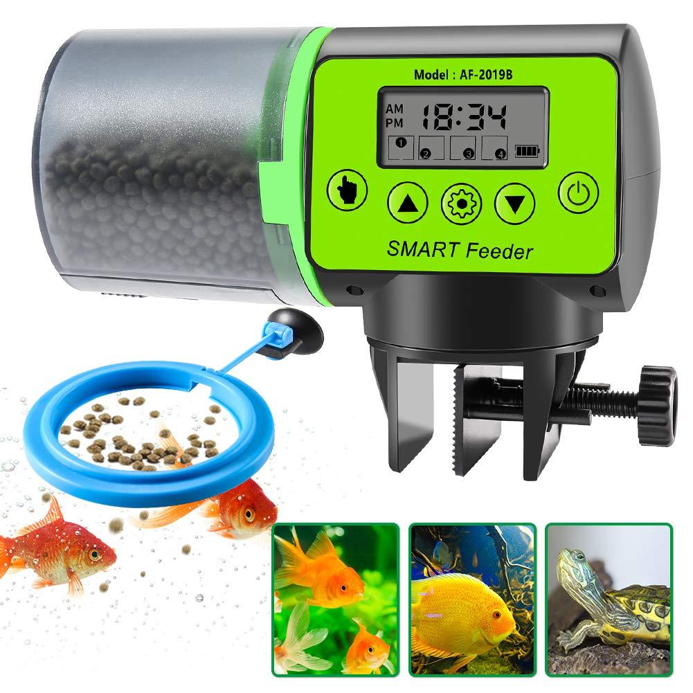 CrazyFire Automatic Fish Feeder,Moisture-Proof Digital Pet Feeder with Feeding Time Design,Large Capacity and Feeding Ring,Vacation Auto Fish Feeder for Aquarium,Fish Tank
