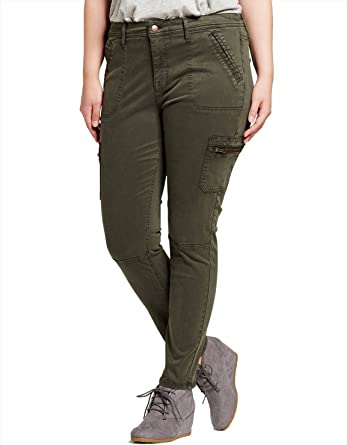 7 Encounter Ava Viv Women S Plus Size Utility Jegging Olive Size 26w At Amazon Women S Jeans Store