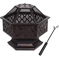 "28"" Polygonal Fire Pit Garden Fireplace Brazier Portable Patio Outdoor Heater Décor"