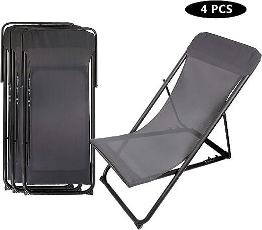 CCLIFE Sillas de jardín Plegable Set de 4 sillas de Playa para Exteriores 126x56x6cm, Color:Gris Oscuro, Tamaño:4 pcs: Amazon.es: Jardín
