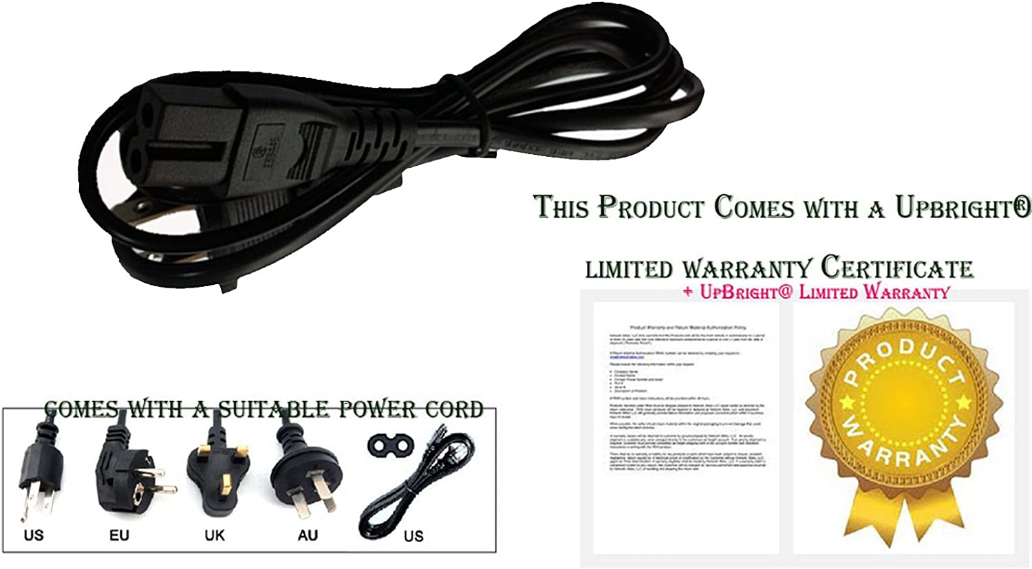 "AC Power Cord Cable For Vizio 32/"" 43/"" 48/"" 50/"" 55/"" 60/"" 65/"" 70/"" Smartcast LED HDTV"