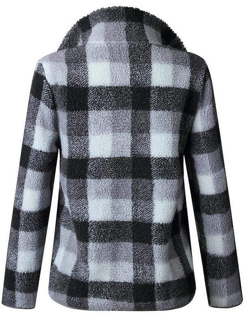 Jofemuho Womens Fuzzy Turtle Neck Warm Zip Front Long Sleeve Checkered Pullover Sweatshirt
