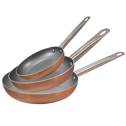 San Ignacio Q2995 Optimum Cooper-Set 5 Piezas: 3 sartenes 2 Tapas-Efecto cobre-20/24/28 cms. Antiadherente sin pfoa-inducción y Gas, Aluminio prensado