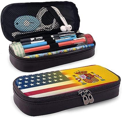 EE. UU. España Bandera Estuche de lápices Bolígrafos escolares Bolígrafo Estuche de bolsa estacionario Maquillaje Bolsa de cosméticos Cuero de PU: Amazon.es: Oficina y papelería