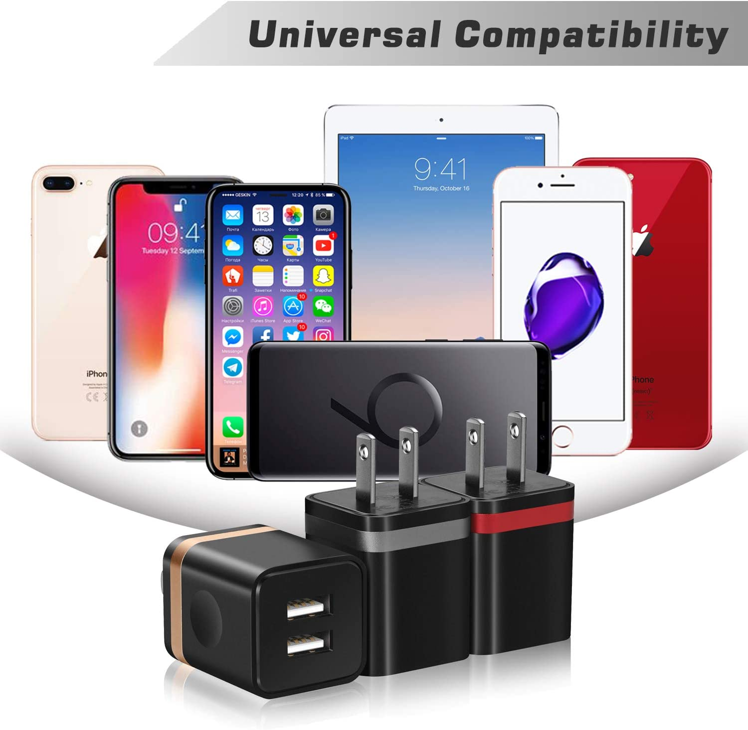 LG Samsung STELECH 3-Pack 2.1A Dual Port USB Plug Power Adapter Charging Cube Compatible with iPhone Xs Max XR Xs X 8 7 6 Plus 5S 4S iPad Android Phone and More USB Wall Charger Moto
