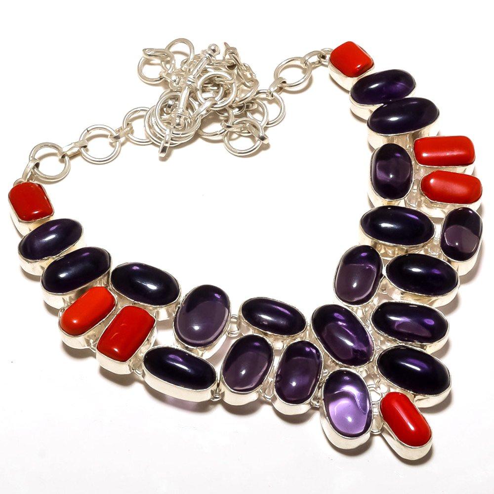 Red Coral Best Gift Purple Amethyst Quartz Sterling Silver Overlay 103 Grams Neckalce 18 Handmade