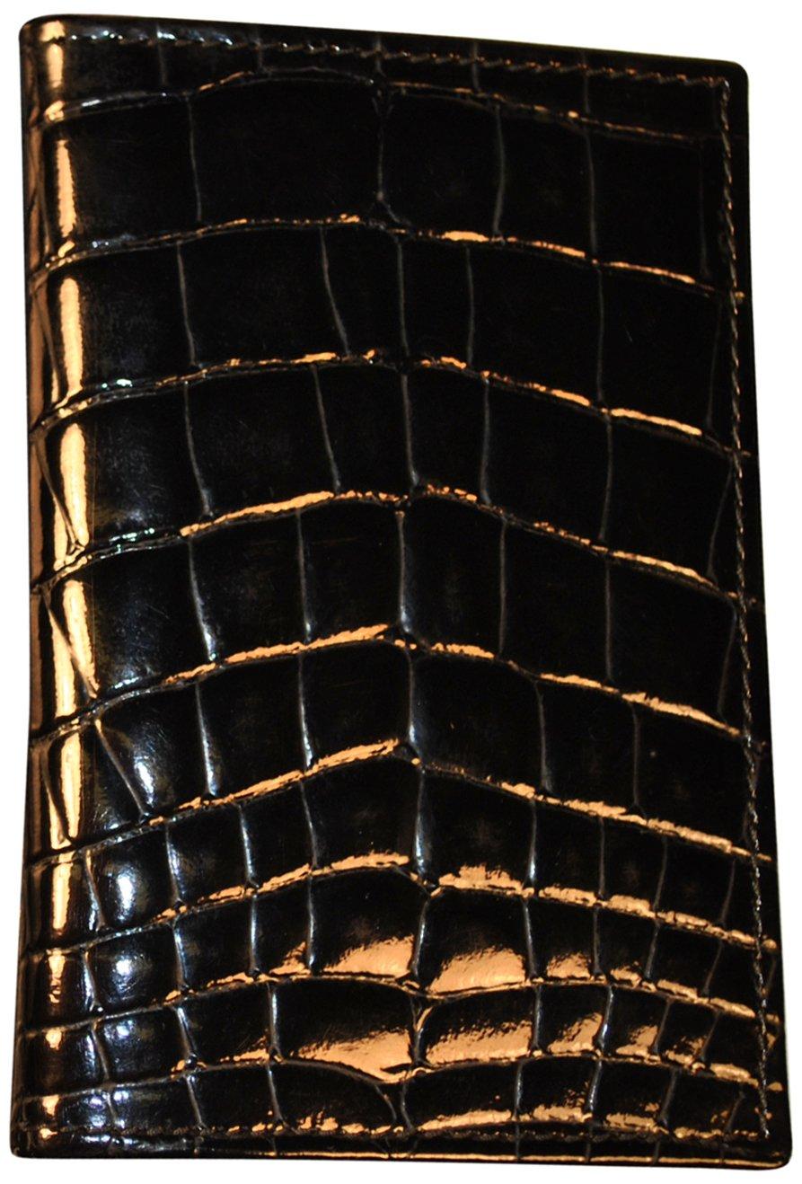 Budd Leather Croco Bidente Credit Card Case with 8 Slits, Black