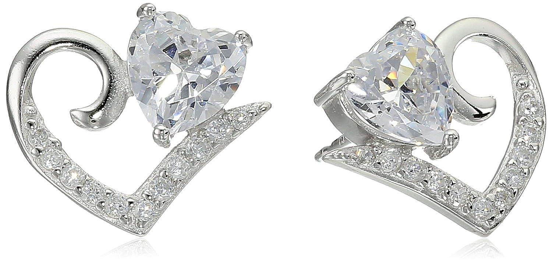 Sterling Silver Cubic Zirconia Open Heart Shaped Stud Earrings Amazon Collection R2AEJH9700