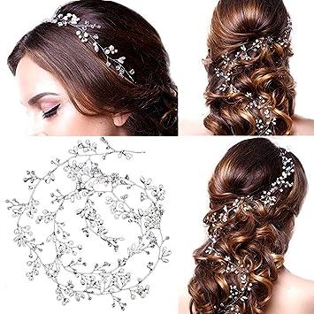 ... Wedding Bridal Headpiece Delicate Headband Extra Long Crystal Pearls  Rhinestone Hair Bands Updo Pretty Hair Vine Hair Accessories for Bridesmaid  Flower ... 2bc0c94f6680