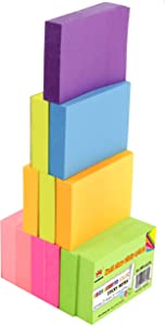 4A Sticky Notes,1 1/2 x 2 Inches,Small Size,The Adhesive On Shorter Side,Neon Assorted,Self-Stick Notes,100 Sheets/Pad,12 Pads/Pack,4A 301x12-N, Neon Assorted-12 Pads