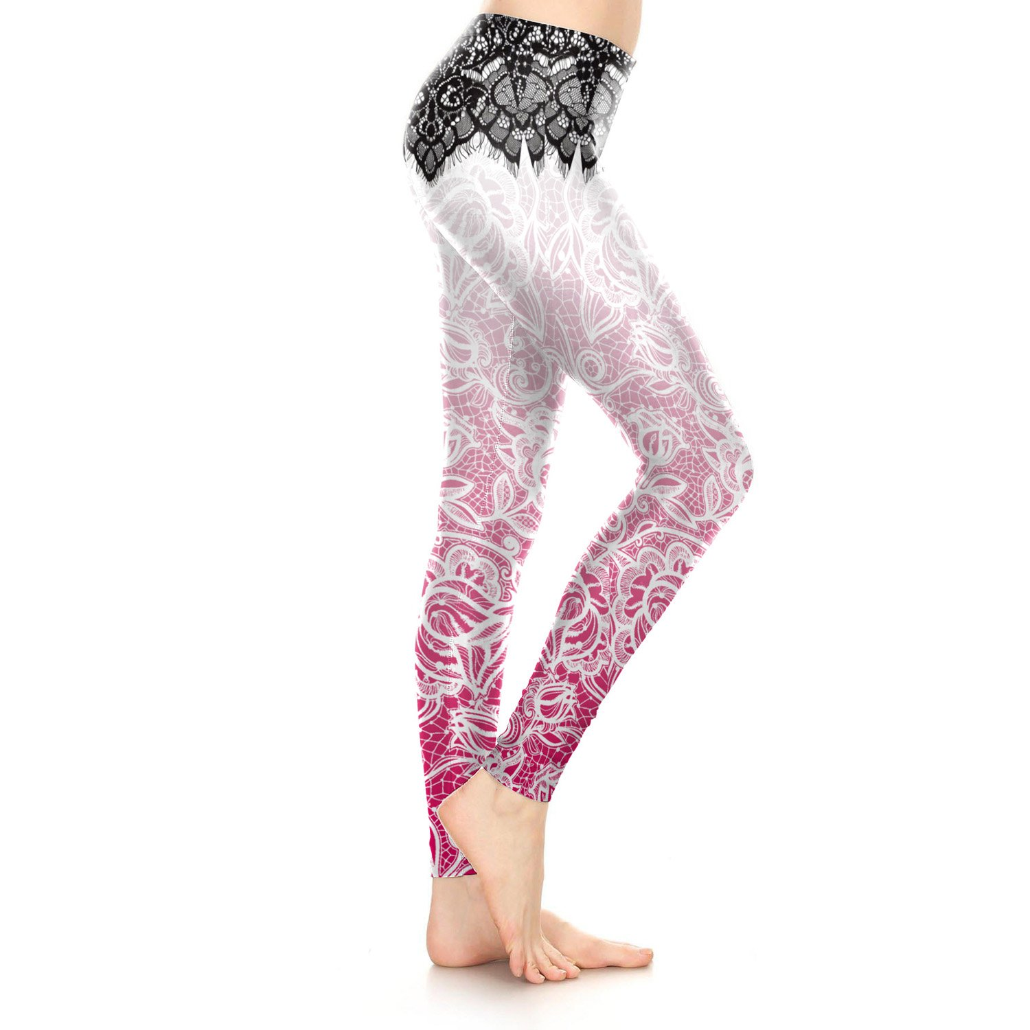 416ea9ae43215 Amazon.com  KUNIZI Pink Boho Women Leggings Bohemia Mandala Flower Printed  Legging Pant  Clothing