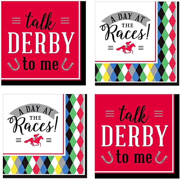 Kentucky Derby Party Supplies Horse Race Cocktail Beverage Napkins 32 Count