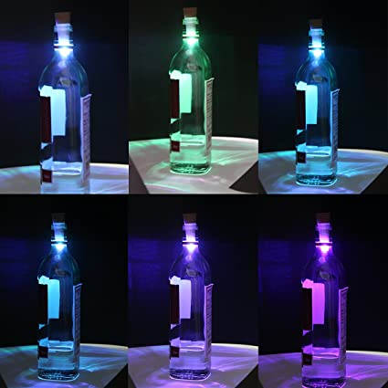 Xcellent Global Luces cambiacolores LED para botellas con forma de cocrcho recargables por USB. Luces