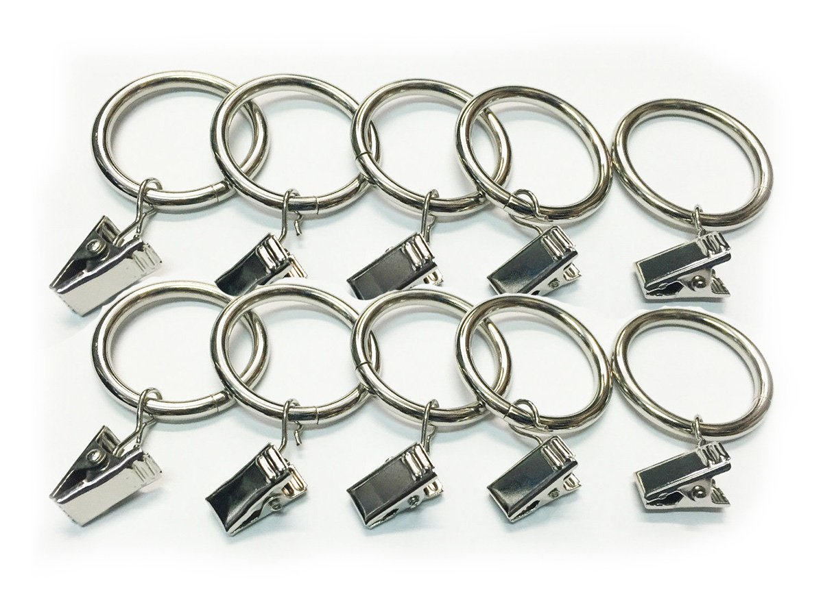 HOMEELABADOR/® SILVER CHROME 12 X 30 mm Universal Metal Curtain Rings for Hanging Curtain Pole Rod voile Net Rings
