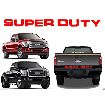 BDTrims Tailgate Raised Letters Compatible with 2008-2016 Super Duty Models (Red): Automotive