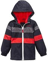 London Fog Boys' Reflective Fleece Hooded Spring Jacket (Navy)