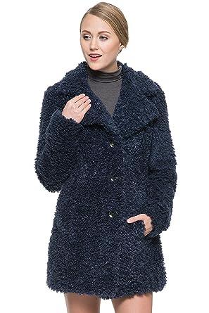 Ovonzo Women S New Winter Faux Fleece Fur Coat Lightweight Navy Blue