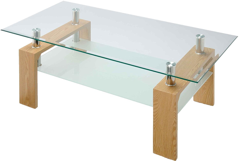 ガラステーブル リビングテーブル 幅96cm 8mm厚 天板 センターテーブル ローテーブル 応接セット 施設 ロビー カフェテーブル ソファテーブル 机 収納 テーブル ディスプレイ 強度 デザイン ゴージャス モダン おしゃれ (ナチュラル) B01LWZ1MK6  ナチュラル