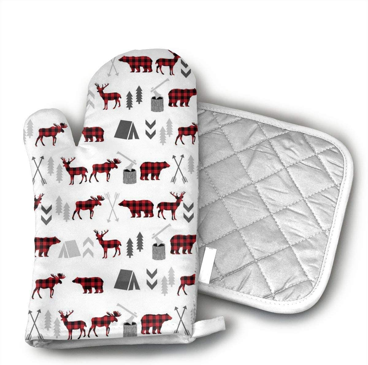 InsulatedMitt59 Buffalo Plaid Woodland Moose Deer Bear Forest Oven Mitts, Non-Slip Silicone Oven Mitts, Extra Long Kitchen Mitts, Heat Resistant to 572¡ãF Kitchen Oven Gloves