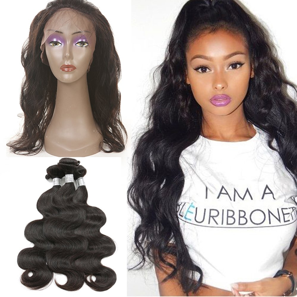 8A Remy Malaysian Virgin Hair Body Wave 4 Bundles 360 Lace Frontal with Bundle 360 Lace Frontal Pre Plucked Frontal With Bundles (20 22 24+ 360 Lace frontal 18)