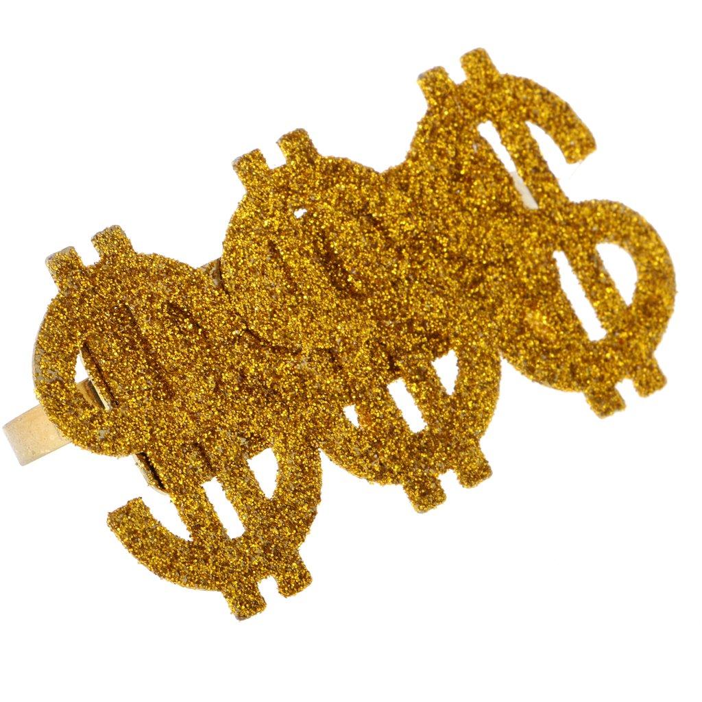 Prettyia Ring Gangster Dollar goldfarben Erwachsene