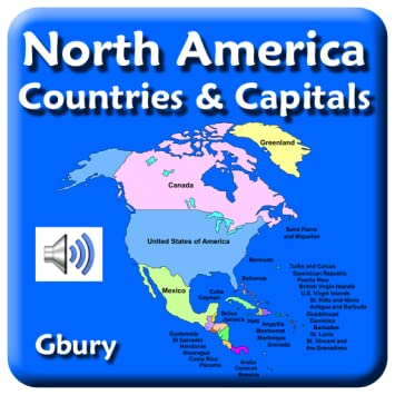 North America Map Countries And Capitals.Amazon Com North America Countries And Capital Cities Appstore For