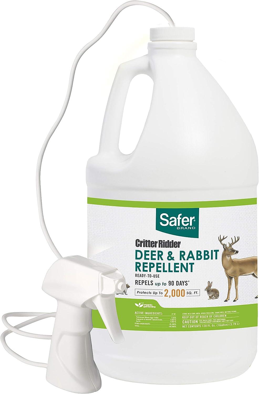 Safer Brand 5982 Critter Ridder Deer & Rabbit Repellent Ready-To-Use – 1 Gallon,White