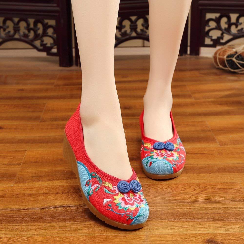HhGold Bestickte Schuhe Sehnensohle ethnischer Stil weibliche Stoffschuhe Mode bequem bequem bequem Tanzschuhe rot 36 (Farbe   - Größe   -) 19b60a