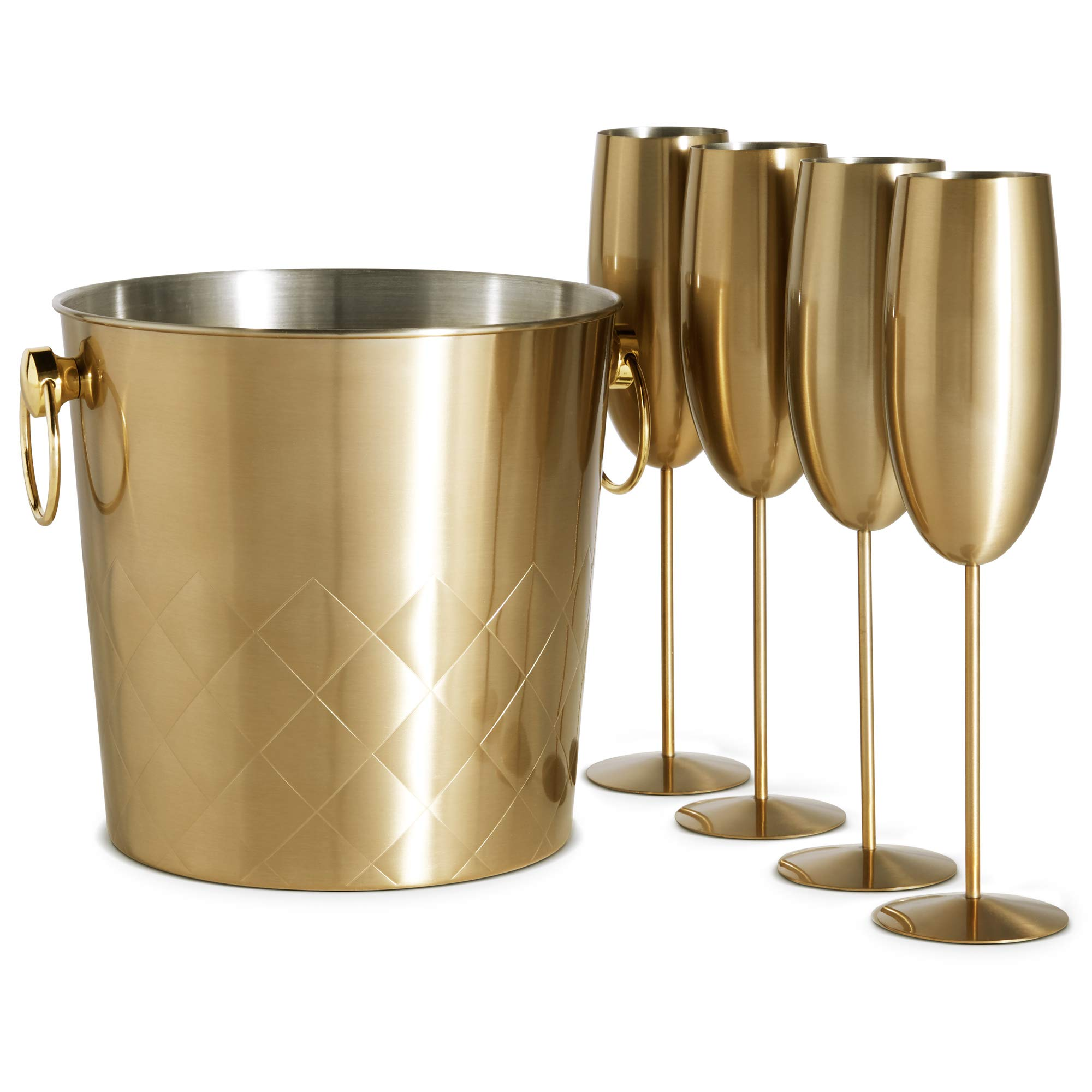 VonShef Brushed Gold Champagne Bucket with 4 Gold Champagne Flutes Glasses, 175oz, Etched Stainless Steel Ice Bucket with Carry Handles by VonShef