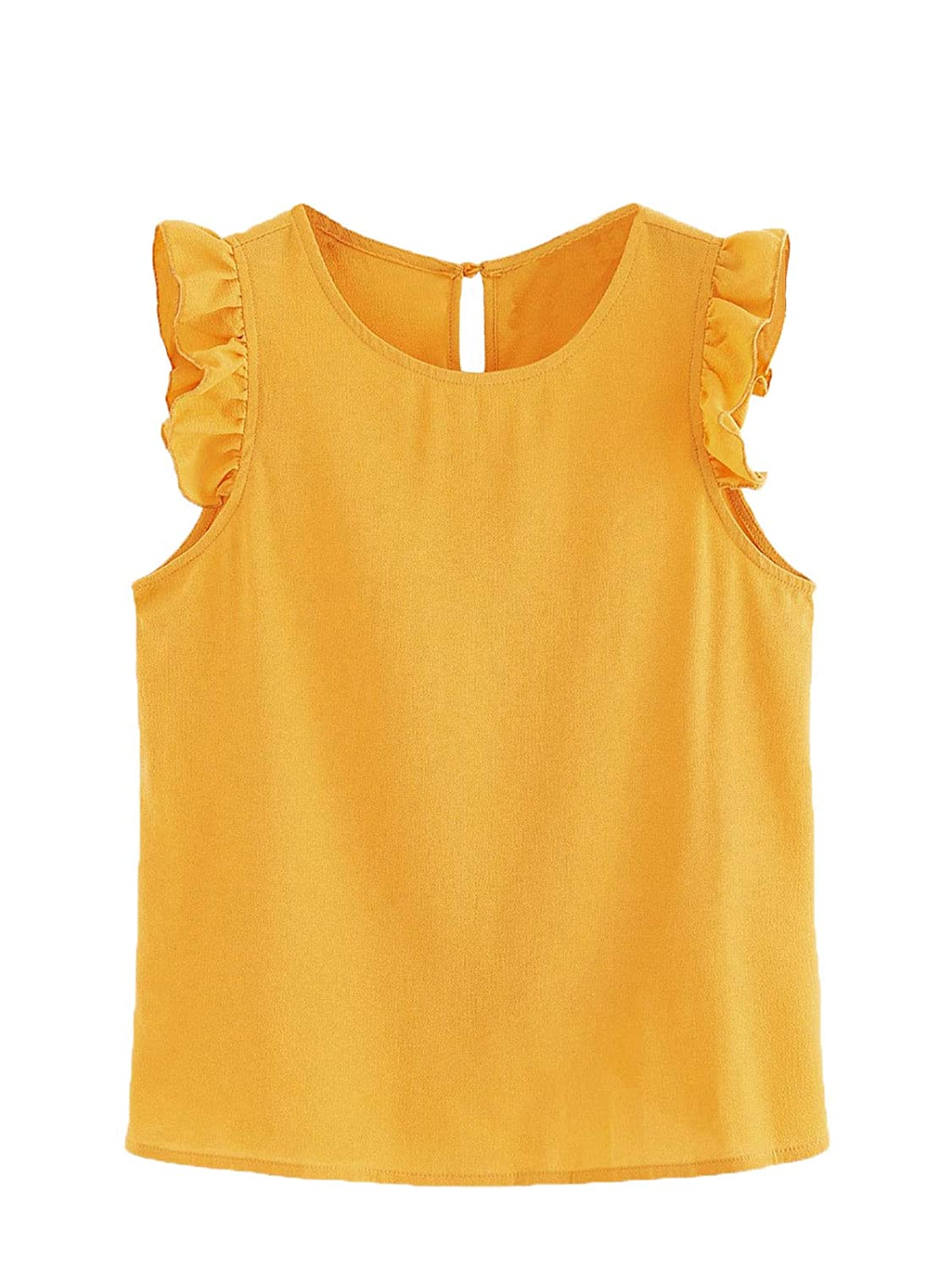 Mustard Floerns Women's Summer Round Neck Sleeveless Frilled Keyhole Shirt Blouse Top Black