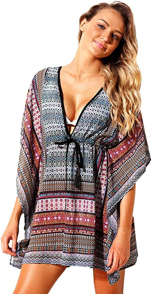BAOBAO Womens Plus Size Swimwear High Waisted Loose Bohemian Print Summer Beach Dress Swimsuit Cover-up For Women
