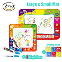 Flytoo 2 Pack Magic Water Drawing Doodle Mat with Large Size Rainbow Colour Mat and Small Size 4 Colour Mat and 3 Magic Water Pen for Toddlers Kids Baby