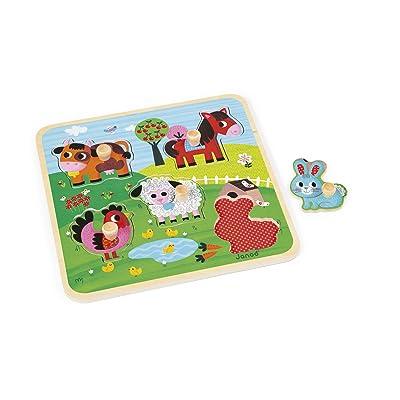 Janod- PUZLE ALEGRÍA Puzzle encajable Granja de la Felicidad, (Juratoys J07065): Juguetes y juegos