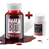 Schmink-Set: 250ml Kunstblut + Latexmilch / MakeUp Schminke Vampir Zombie Blut - für Fasching, halloween, Theater & Co.