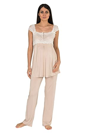 Bondy Women s 3 Piece Maternity and Nursing Pajama Set Lace Details  Featuring Nursing Top Pants and deea224dd