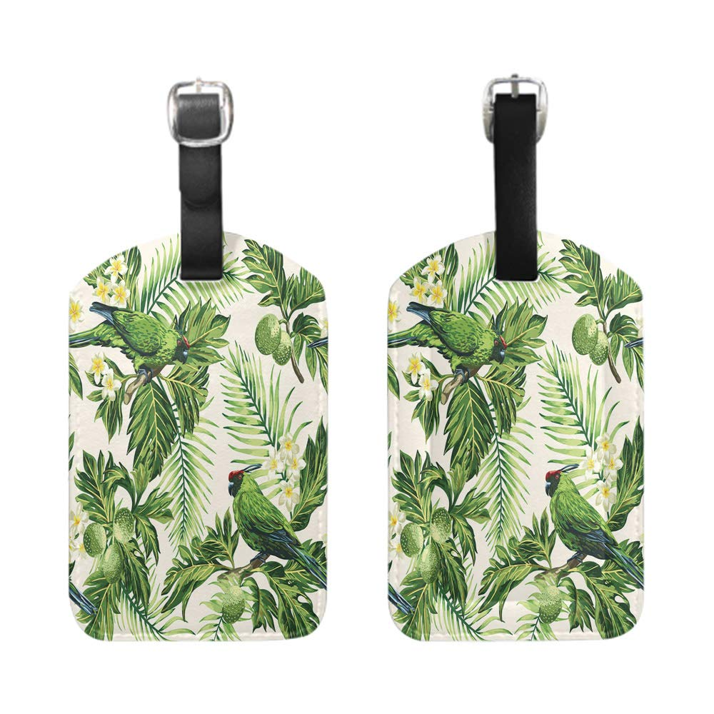 Seamless tropical pattern with palm trees-2-Piece Stylish Patterned Private Luggage Tag bescribe leather name ID tag with privacy cover