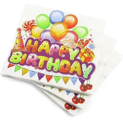 60 servilletas de 3 capas, feliz cumpleaños globos fiesta de servilletas de papel – 33