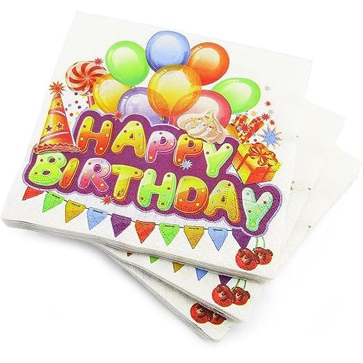 60 servilletas de 3 capas, feliz cumpleaños globos fiesta de ...