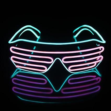 736bfbec8b Amazon.com  Light Up EL Wire Neon Shutter Glasses Flashing LED Rave ...