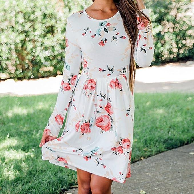 24887aece3ae8 Hibote Vestidos Manga Larga Mujeres Blusas Largas Otoñales Vestidos Camisas  Florales Adelgazar Vestidos Grandes Oscilación Cintura Plisada Vestido A- línea ...