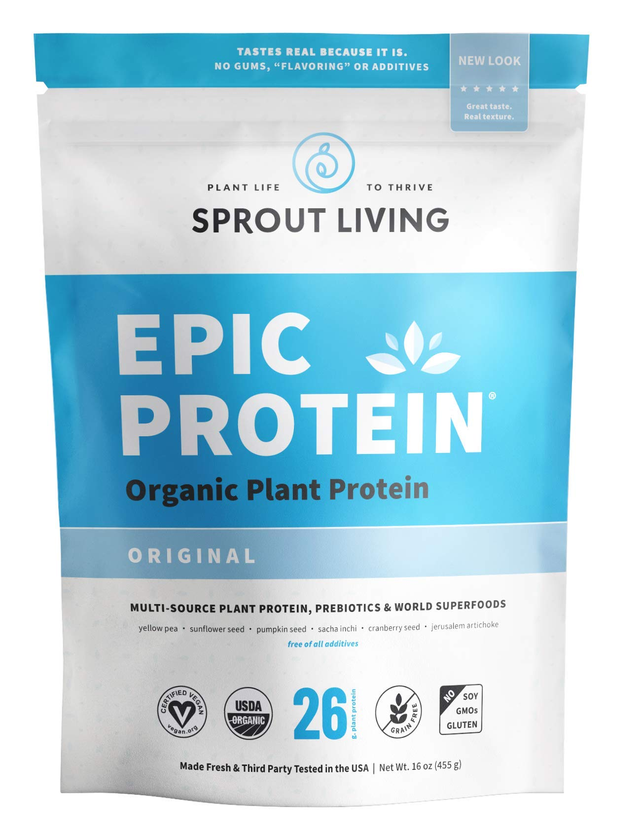 Sprout Living Epic Protein Powder, Original Flavor, Organic Plant Protein, No Additives, Gluten Free, 26 Grams Clean Vegan Protein (1 Pound,13 Servings) by Sprout Living