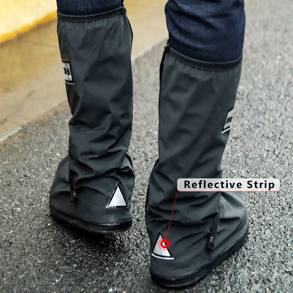 USHTH Black Waterproof Rain Boot Shoe Cover with reflector Black-S 10.8inch 1 Pair